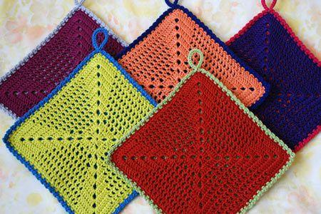 Crocheted potholders | crochet patterns | Pinterest | Poncho muster ...
