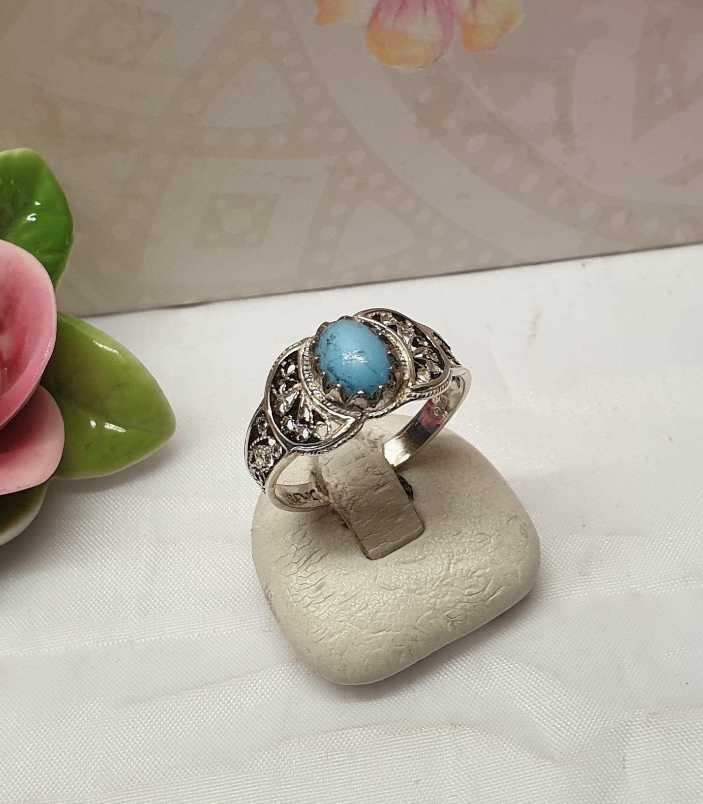 195 mm Nostalgischer Vintage Ring Silber 925 Türkis | Etsy