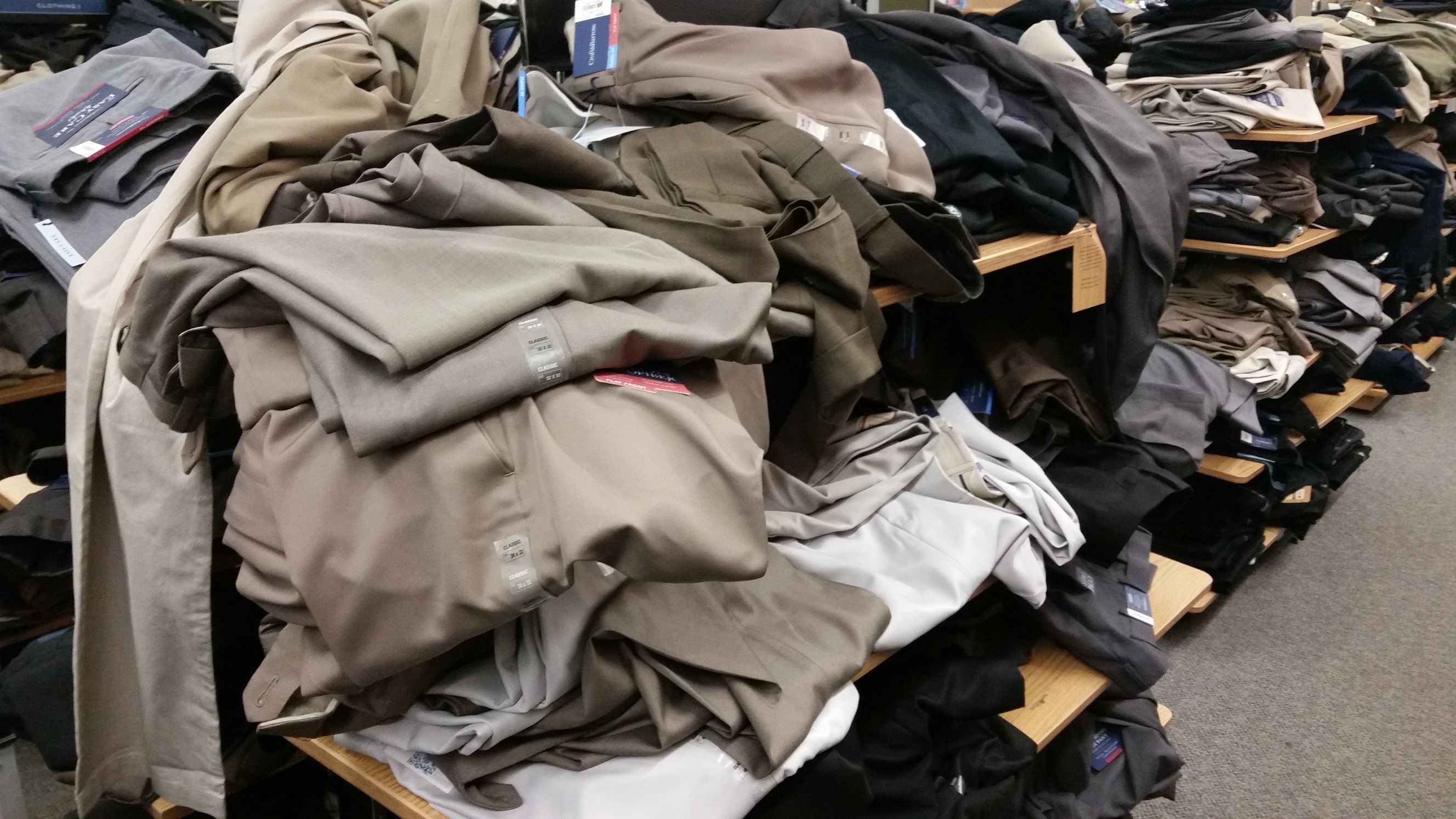 Have you ever seen a clothes department so messy? Photo