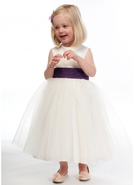 Ivory tulle flower girl dress with purple pleated sash 1 10 years ivory tulle flower girl dress with purple pleated sash 1 10 years mightylinksfo Choice Image
