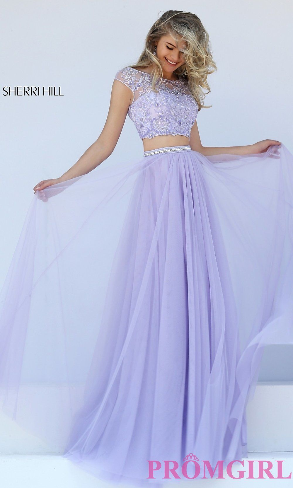 Two piece dress with cap sleeves by sherri hill in lilac prom