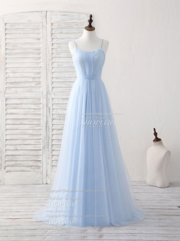 Einfache Blaue Tüll langes Kleid blauen Kleid Brautjungfer