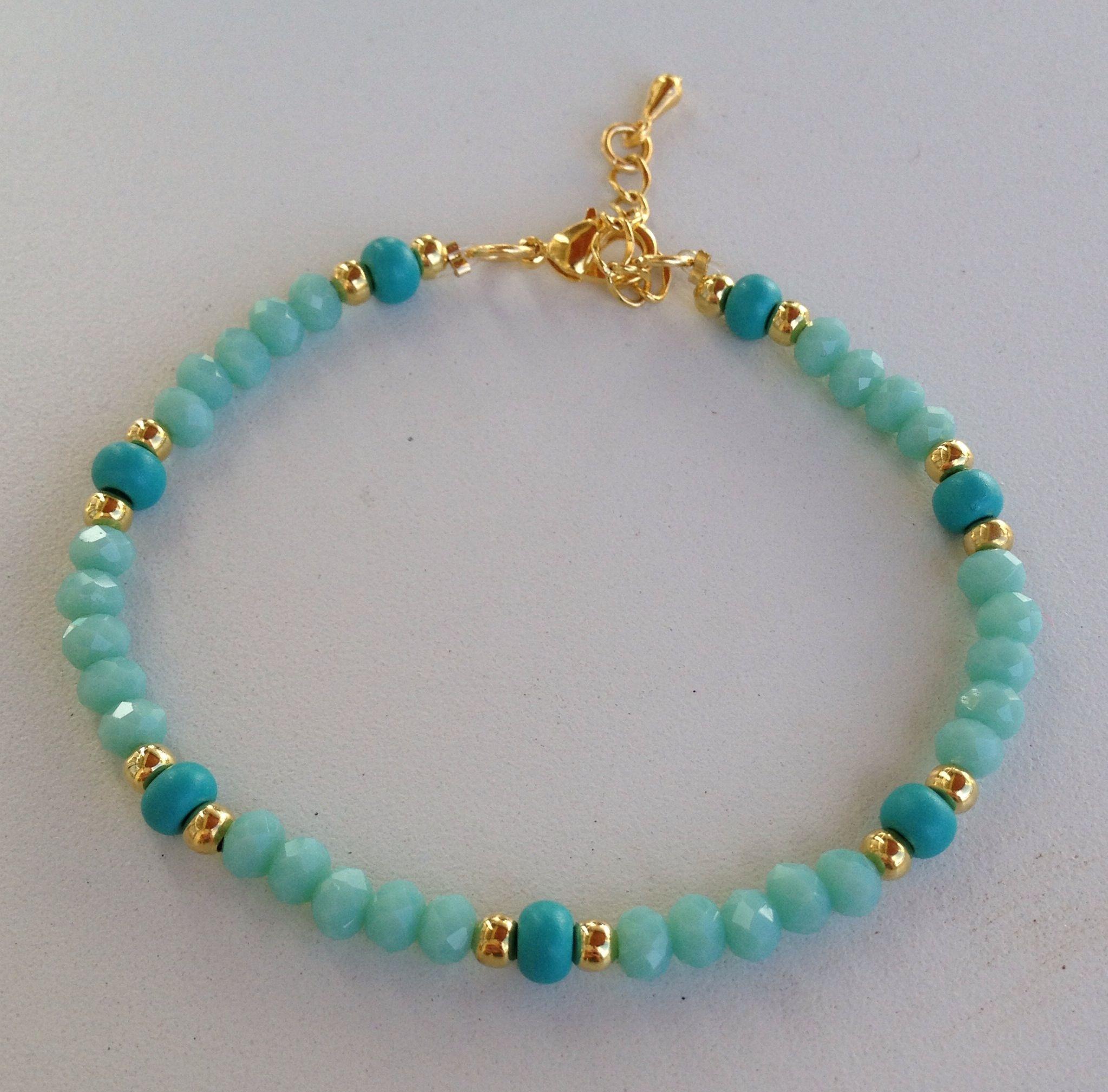 52da2a51658a Turquoise crystal beaded bracelet pulseira de cristal turquesa ...