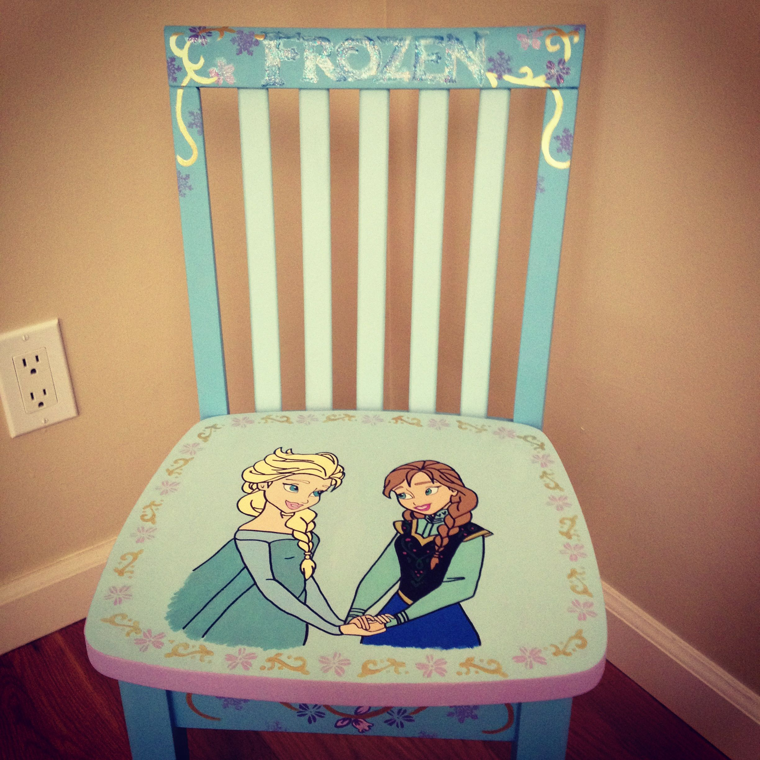 Frozen themed kids chair Elsa and Anna painted on seat Glitter