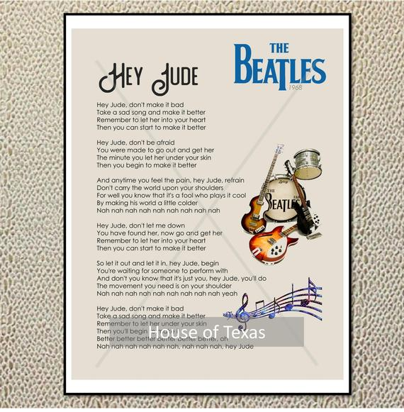 Hey Jude Quote Song Lyric Heart Print
