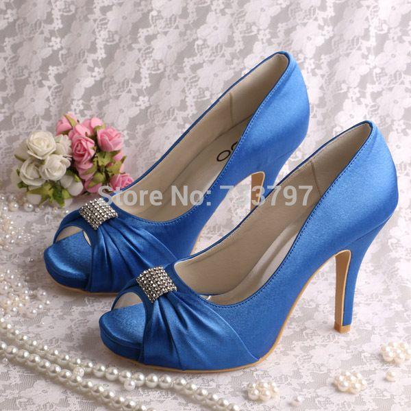 bdc1c83feca Dark Blue Ladies High Heel Open Toe Pumps Wedding Shoes Pumps Free Shipping  Dropship(China