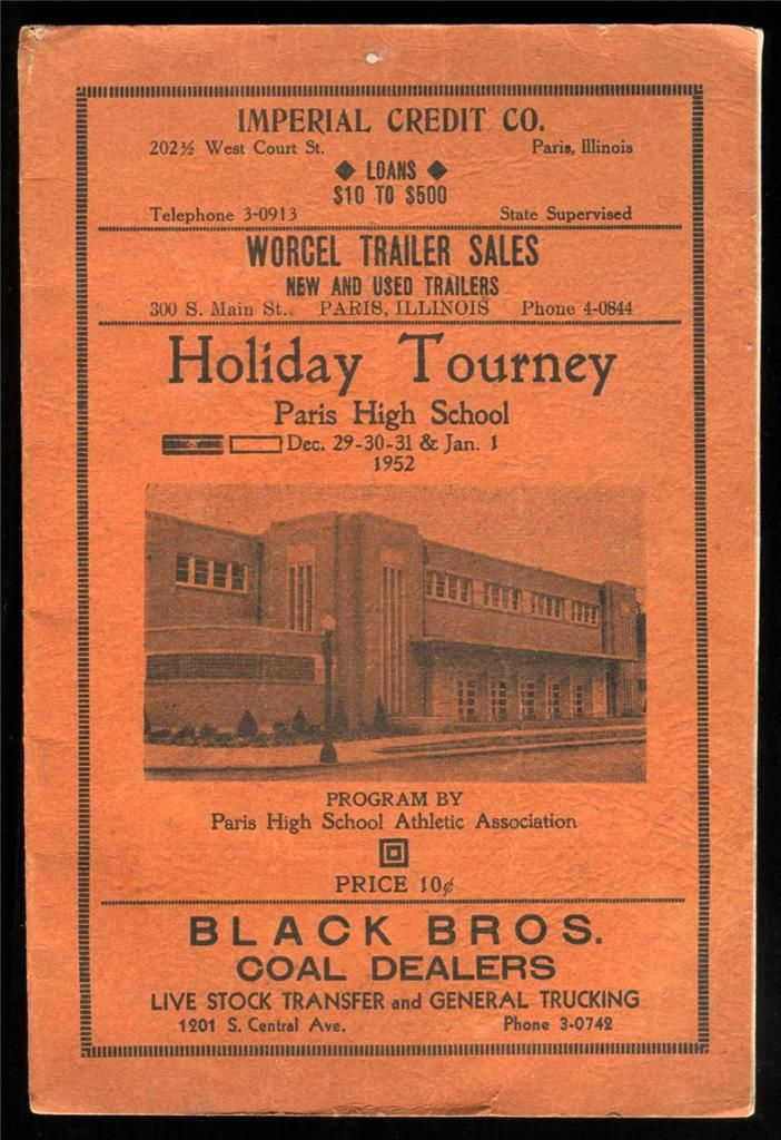 Vintage program for the 1952 Holiday Tourney Football games at Paris