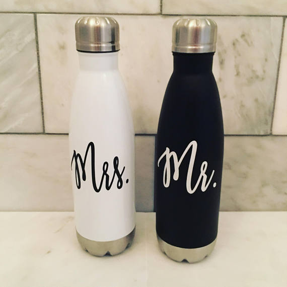 Get Fit With Your Wifey Or Hubby Couples That Workout Together Stay Together These Custom Mr Mrs Water Bottles Are Water Bottle Bottle White Water Bottle