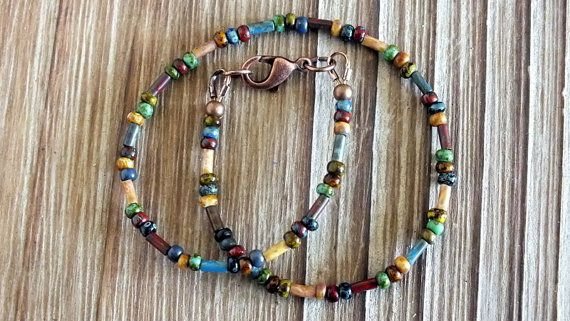 Czech Picasso Seed and Bugle Bead Ankle Bracelet by ABitOfNature