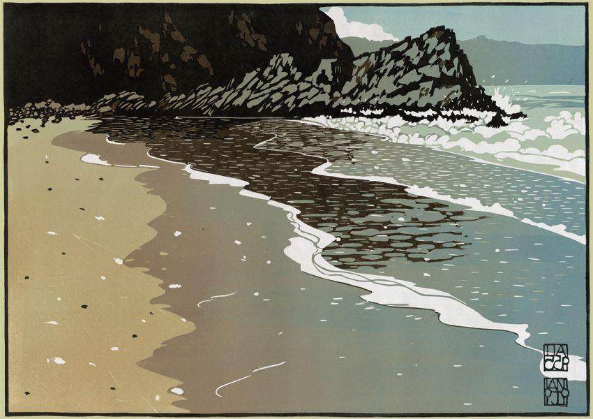 """Wet Sand at Tresaith"" linocut by Ian Phillips. http://www.reliefprint.co.uk/ Tags: Linocut, Cut, Print, Linoleum, Lino, Carving, Block, Woodcut, Helen Elstone, Beach, Shore, Sea, Rocks, Wales, Welsh, Cymru."