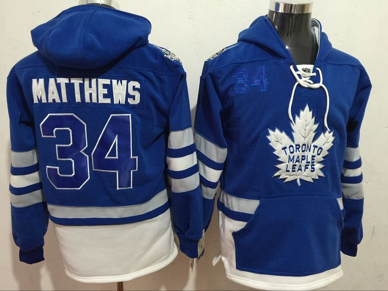 Maple Leafs 34 Auston Matthews Blue All Stitched Hooded Sweatshirt ... 8c504d9a0