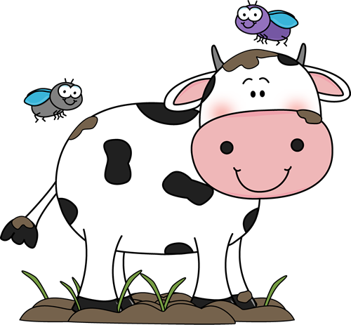 Cute Cow Clip Art | Cow in the Mud with Flies Clip Art Image - cow ...