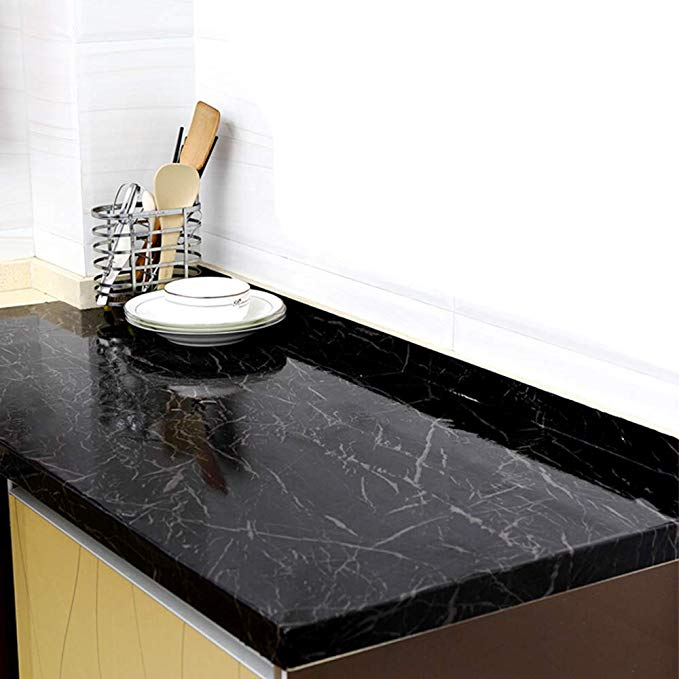 Amazon Com Yenhome 24 X 118 Inch Jazz Black Marble Contact Paper