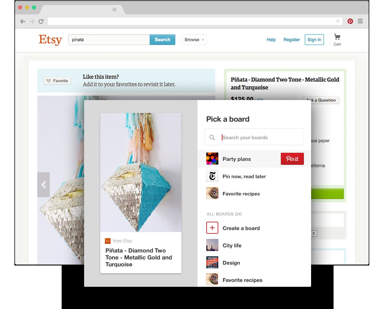 Pinterestin lisäyspainike Chromeen Tallenna verkosta tekemäsi löydöt yhdellä napsautuksella Napsauta painiketta aina kun haluat lisätä sisältöä netistä. Helppoa!