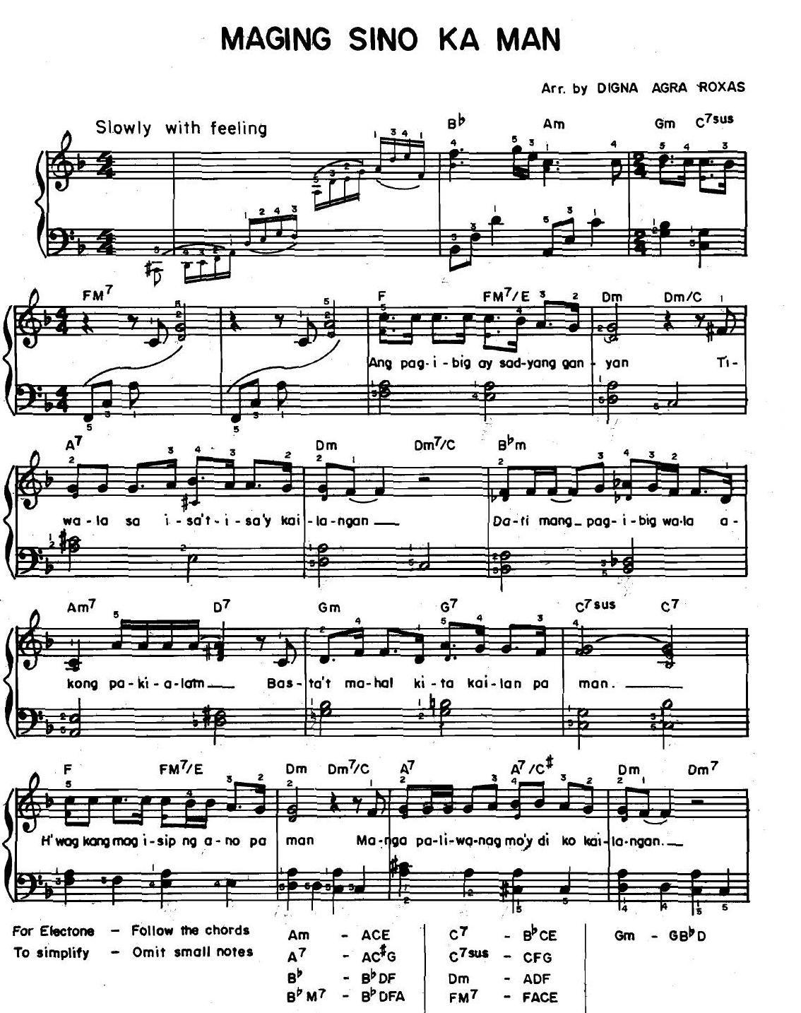 Maging Sino Ka Man Piano Sheet Sheet Music Songs
