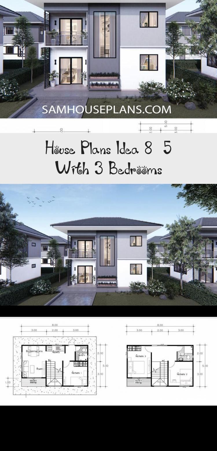 House Plans Idea 8x5 With 3 Bedrooms Sam House Plans Smallhouseplansinexpensive Smallhouseplans1800sqft Smallhou House Plans Small House Plans Small House