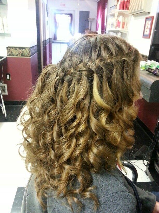 Waterfall braid prom do hairstyle | Waterfall braid prom ...