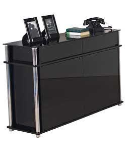 Hygena Matrix 2 Door 2 Drawer Large Sideboard Black