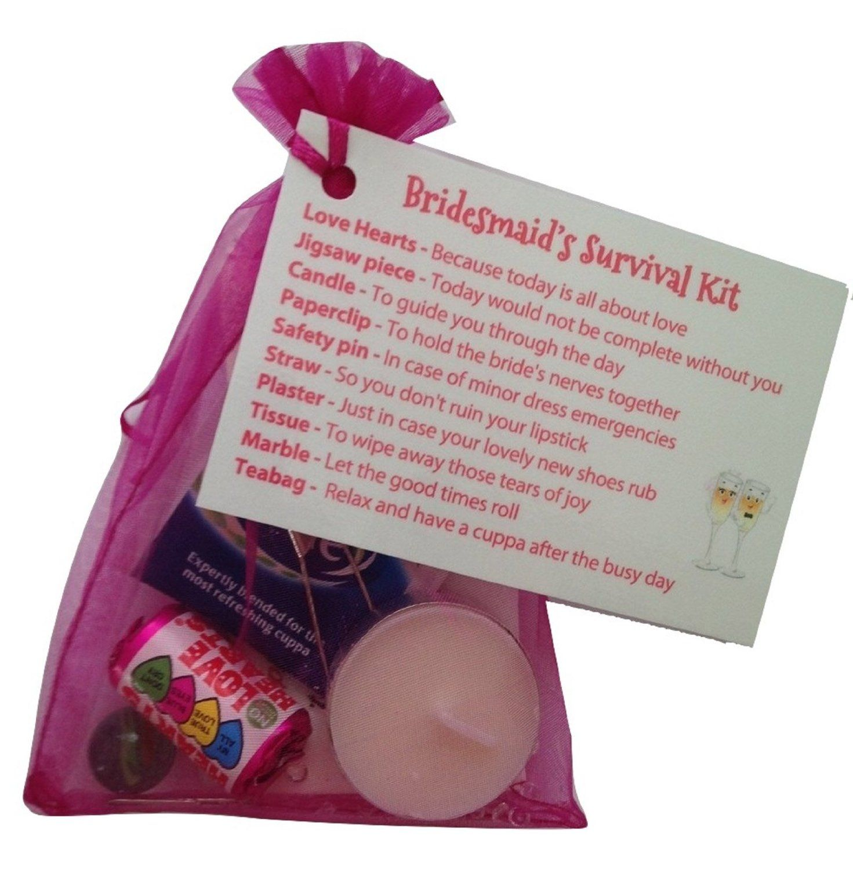 Bridesmaid survival kit in fuschia thank you gift card
