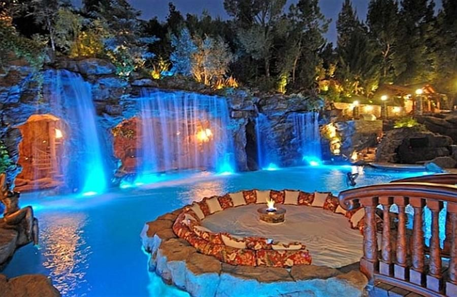 Large Waterfall With Cave Create A Luxury Waterfall Pool Dream Pools Cool Pools Beautiful Pools