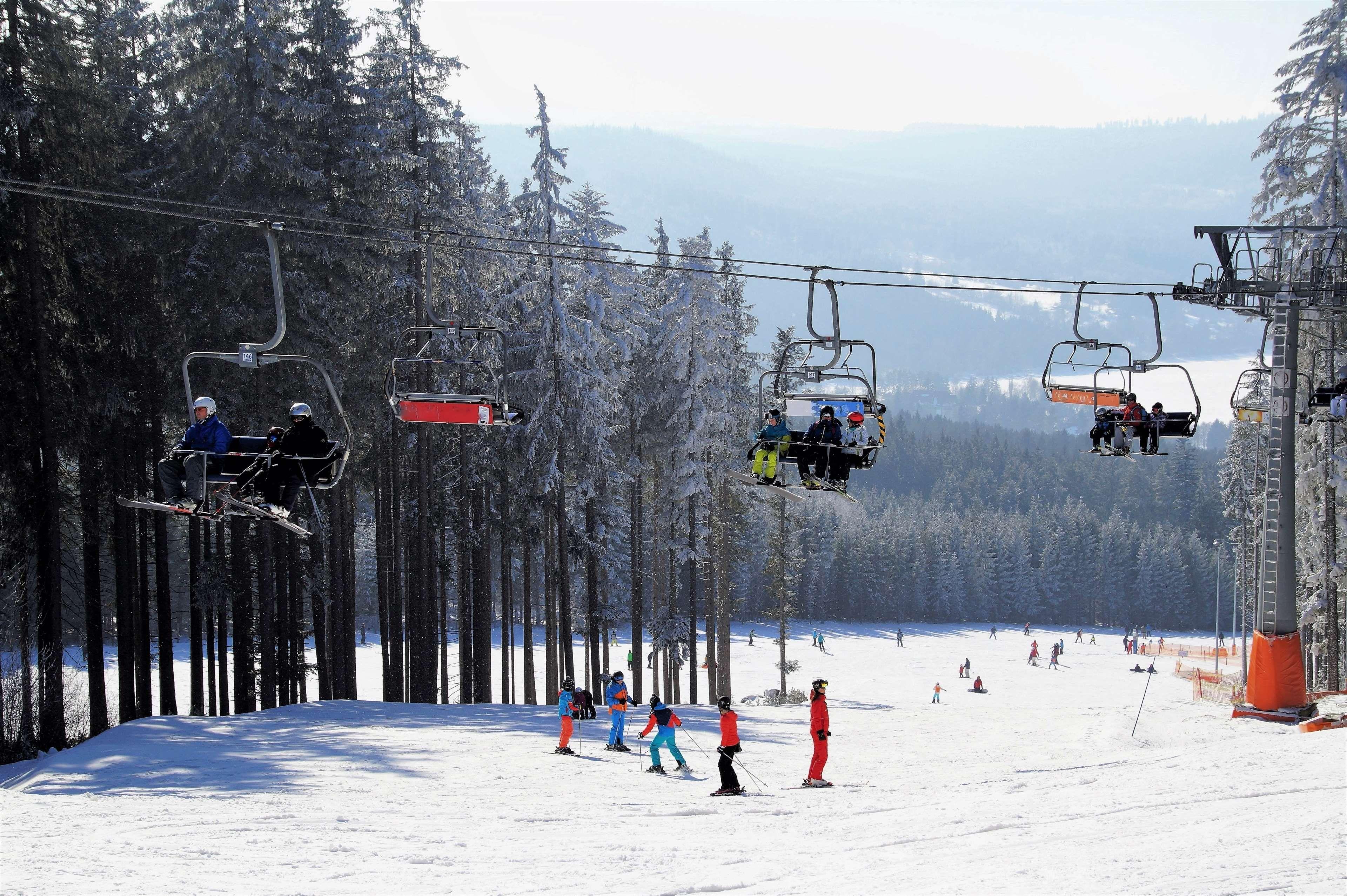 Chair Lift Lipno Mountains Ski Areal Ski Resort Skiers Skiing Area Umava The Ski Slope Trees Winter Winter Sport Ski Resort Ski Area Skiing