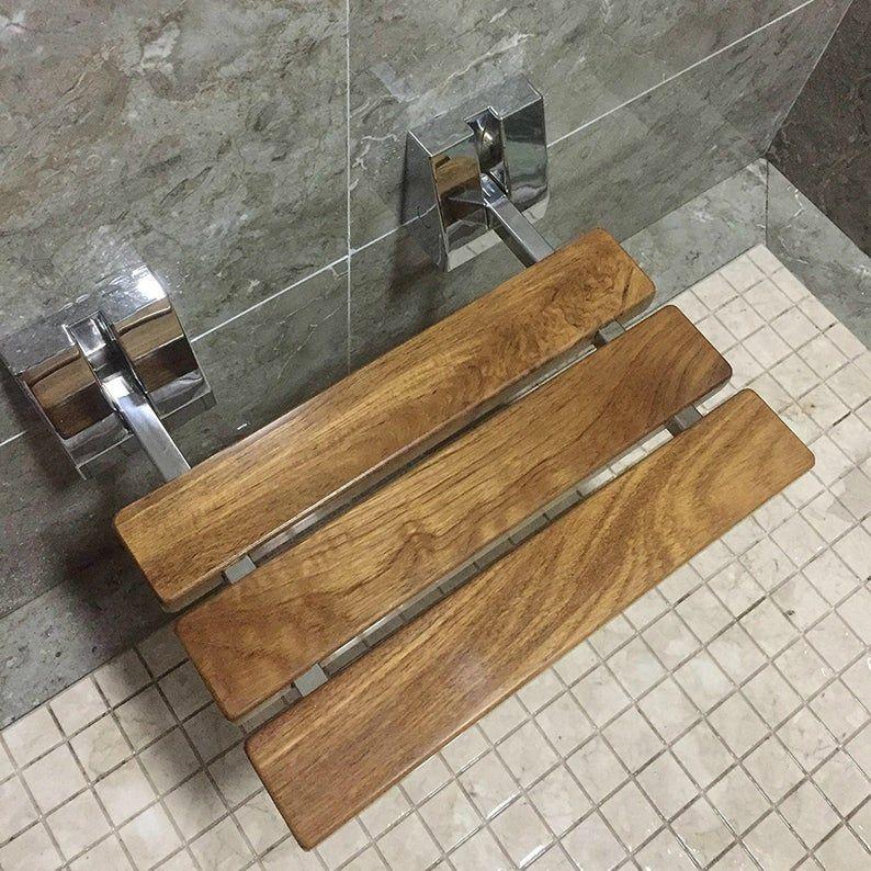 15 3 4 Modern Solid Teak Wood Folding Shower Seat Bench Etsy In 2020 Shower Seat Teak Shower Teak Shower Bench
