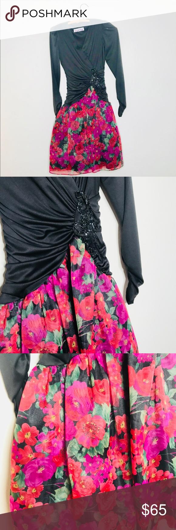 Vintage retro us tule floral skirt prom dress in my posh