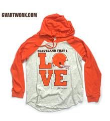 98032604 Women's Cleveland That I Love Orange Helmet Pullover | Cleveland ...
