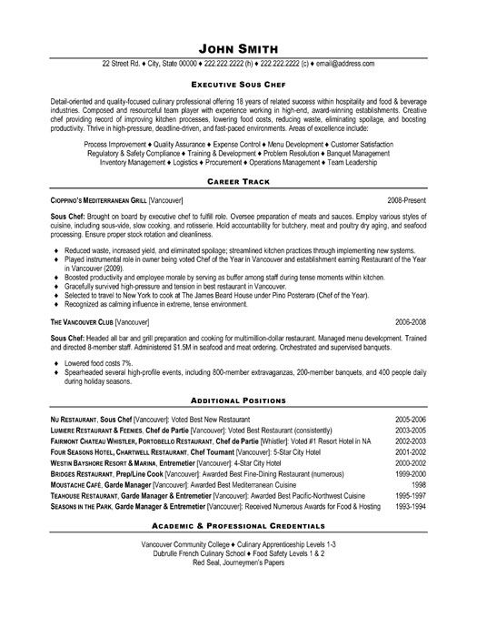executive sous chef resume - Cook Resume Examples