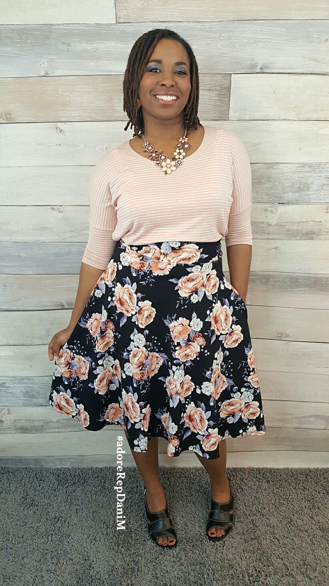 42735873ec Agnes & Dora Dolman Tunic Blush and Oatmeal and Midi Skirt For the Love  Black and Blush