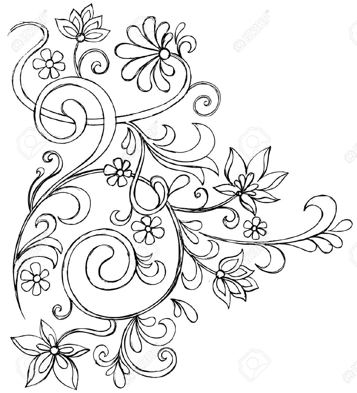 Line Art Vines : Sketchy doodle vines and flowers scroll vector drawing