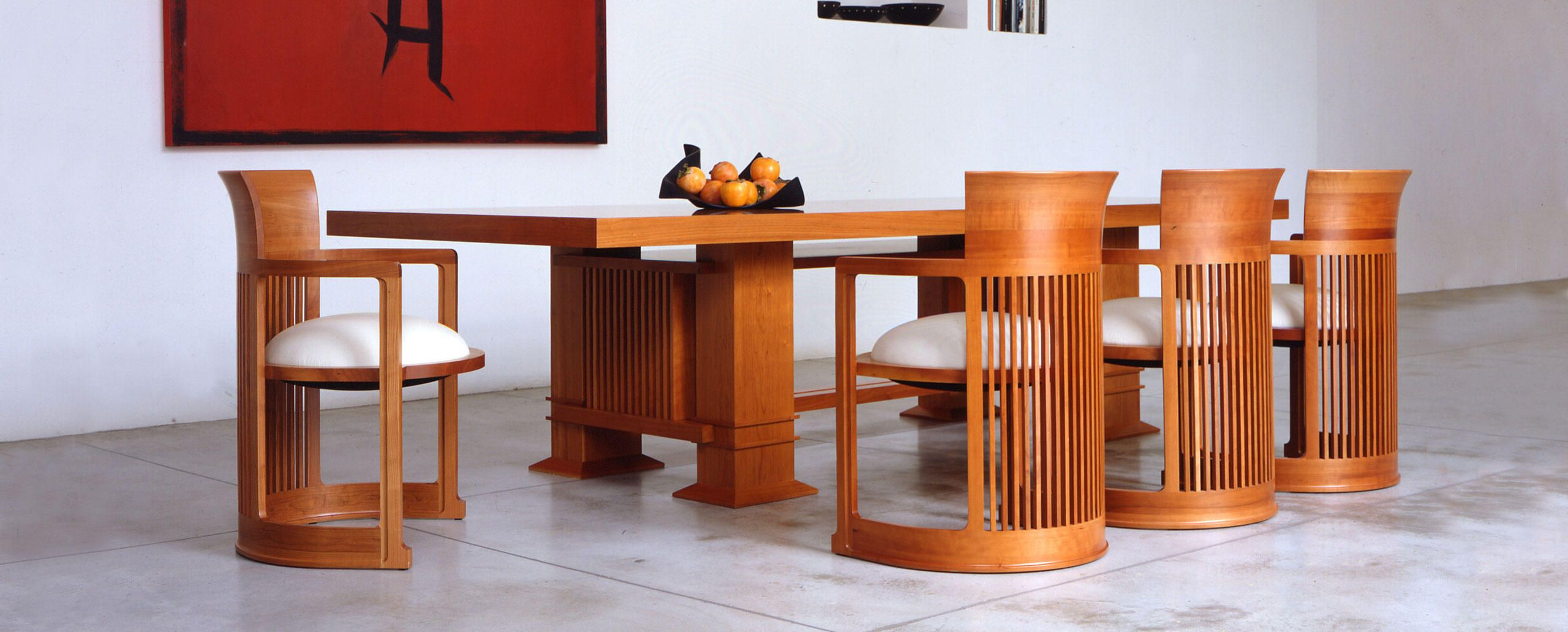 Frank Lloyd Wright Allen Dining Room Table 1917 And Barrel Chair 1937