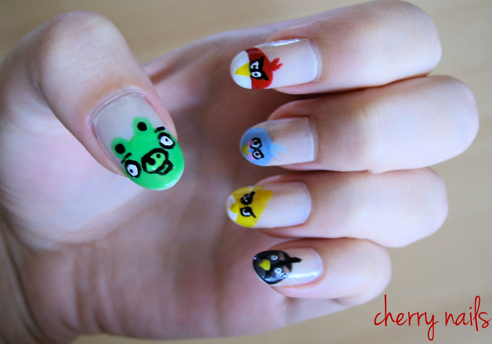 nails, nail art, manicure, angry birds | Cherry nails | Pinterest ...