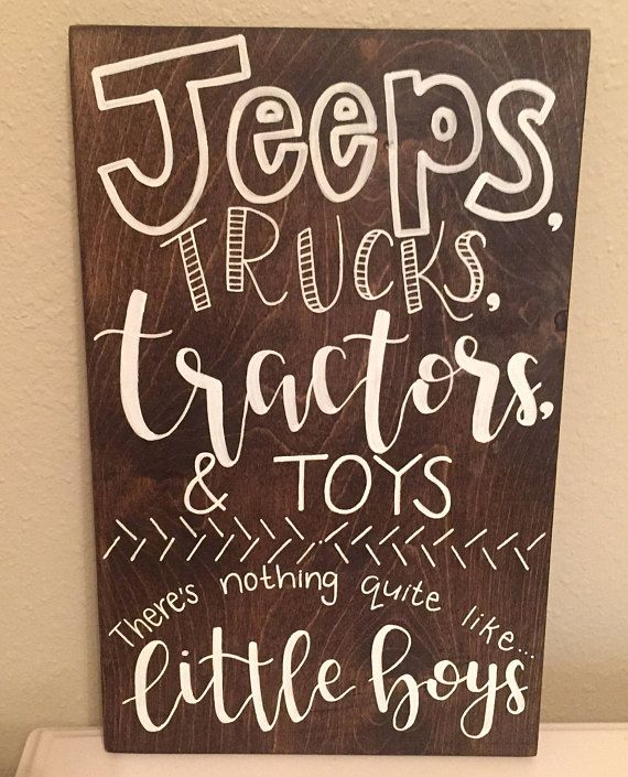 boy nursery decor, nursery boy, baby boy sign, boy nursery wall art, little boys sign, jeeps, tractors, trucks, thats what boys are made of