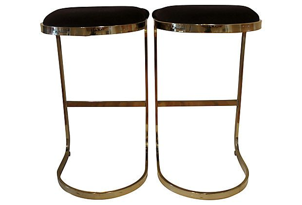 Brass Bar Stools Pair On Onekingslane Com Bar Stools Brass Bar