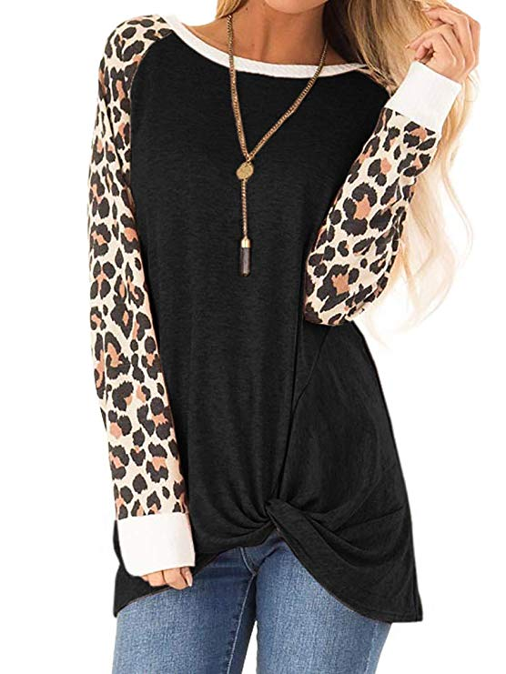 Womens Leopard Print Tops Short Sleeve Casual T Shirts Tees Loose Blouses Tops