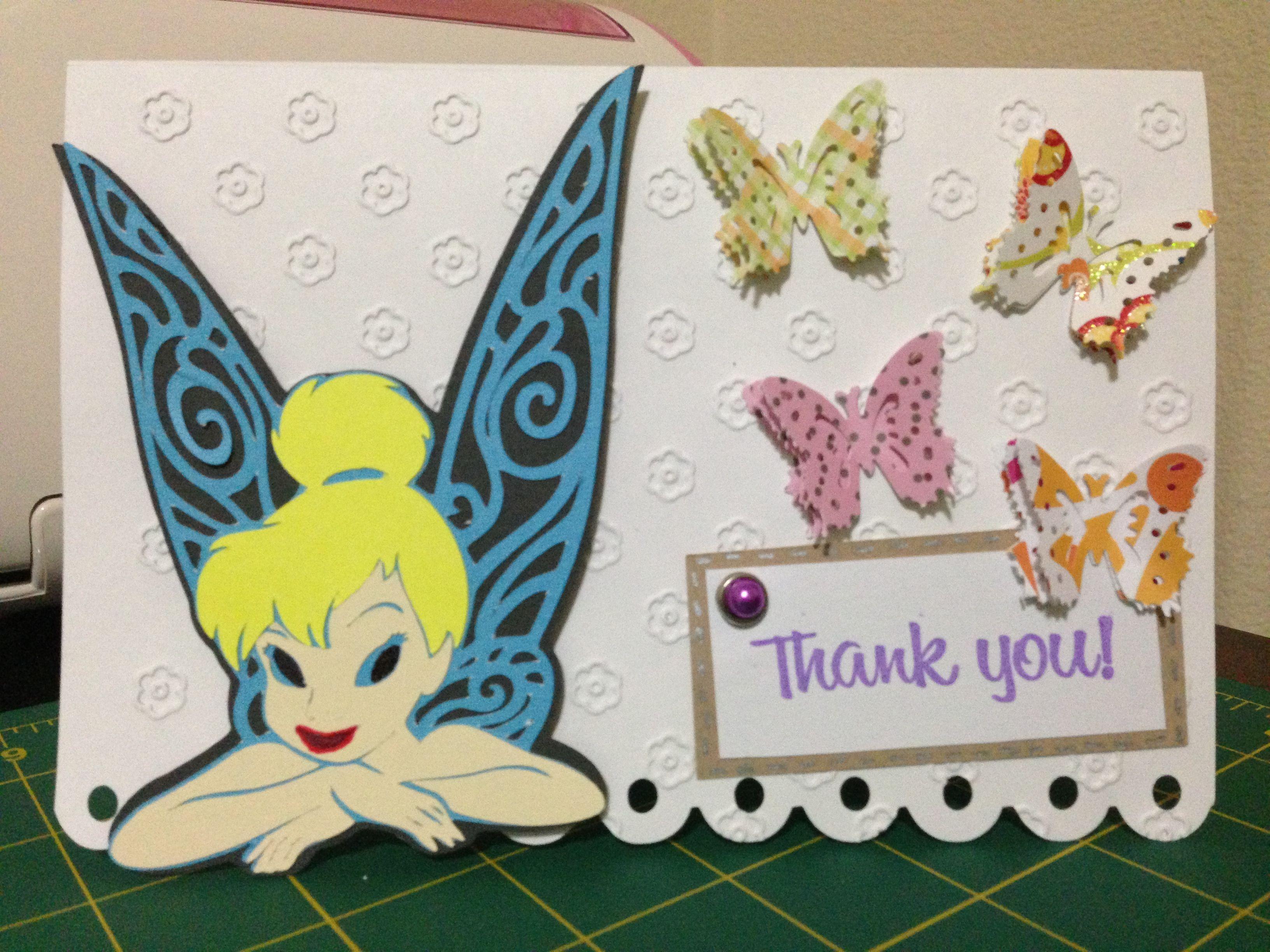 Thank You Card Using Cricut Tinker Bell Friends Cartridge Cute