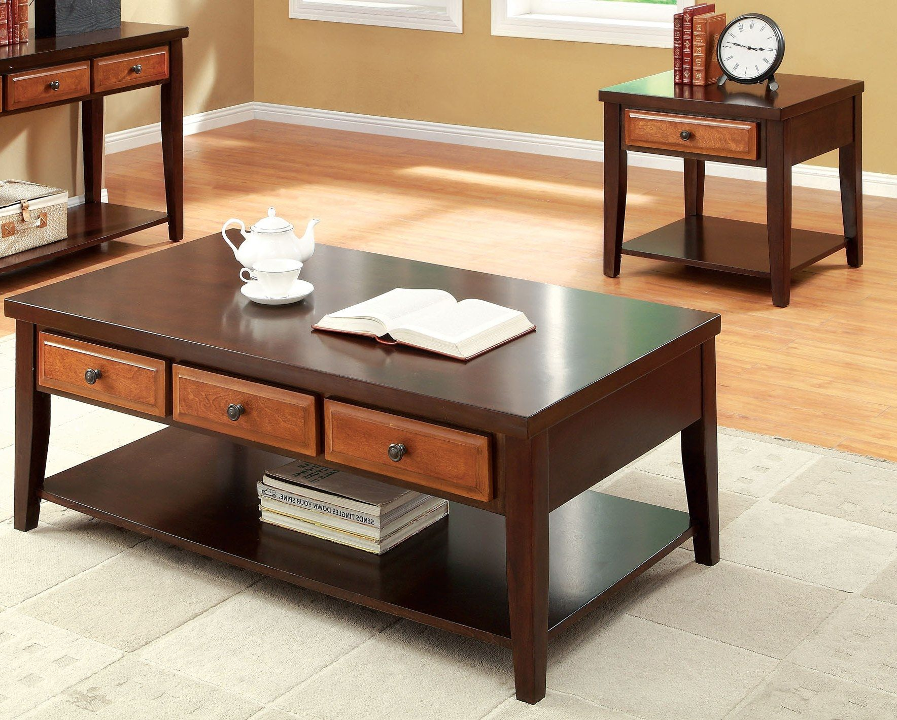 Furniture Of America Lyman 3 Drawer Dark Oak And Cherry Coffee Table, Brown