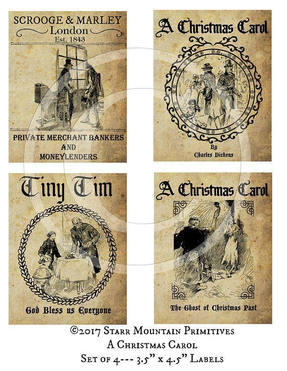 Primitive Vintage A Christmas Carol Scrooge Tiny Tim Set of 4 | Etsy