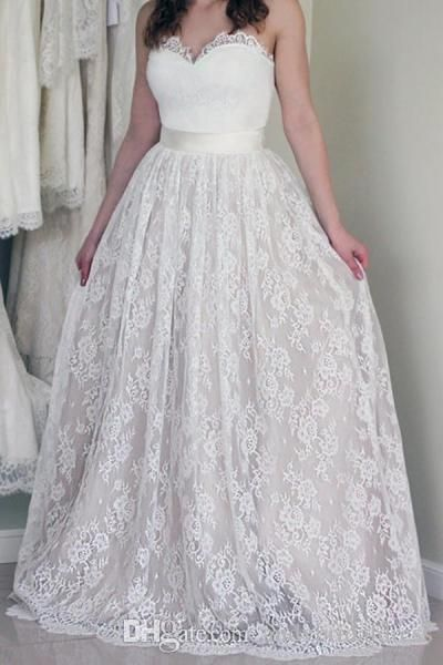 Discount Empire Waist Sweetheart Ivory Lace Country Wedding Dresses ...