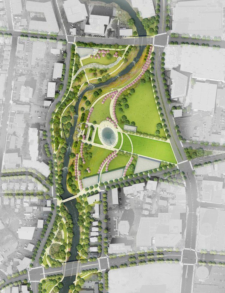 Mill River Park Plan C Olin Landscape Architecture Drawing Urban Design Plan Landscape Architecture Plan