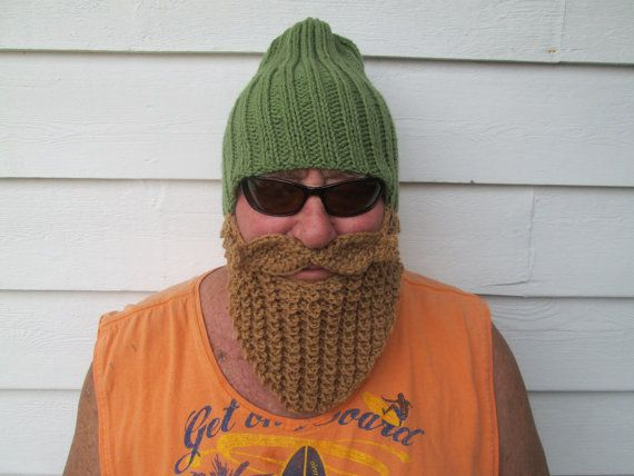 Knitted long beard hat crochet beard hat barbarian hat with beard ...
