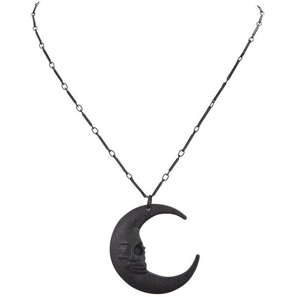 Restyle Gothic Gypsy Skull Moon Crescent Pendant occult Necklace ❤ liked on Polyvore featuring jewelry, necklaces, skull head necklace, skull pendant, skull jewellery, skull necklace and skull jewelry