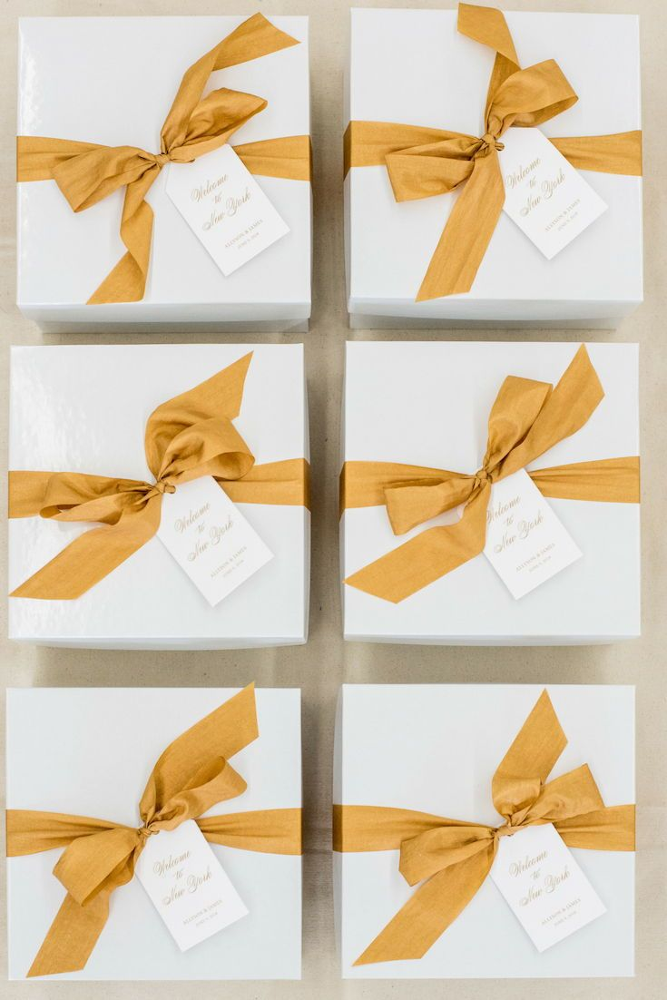 Wedding Welcome Gifts Gold And White Nyc Inspired Wedding Welcome