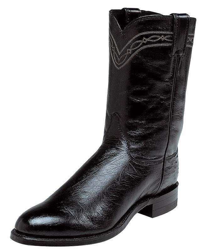 Justin Men S 10 Black Smooth Ostrich Roper Boots Ostrich Boots Boots Justin Boots