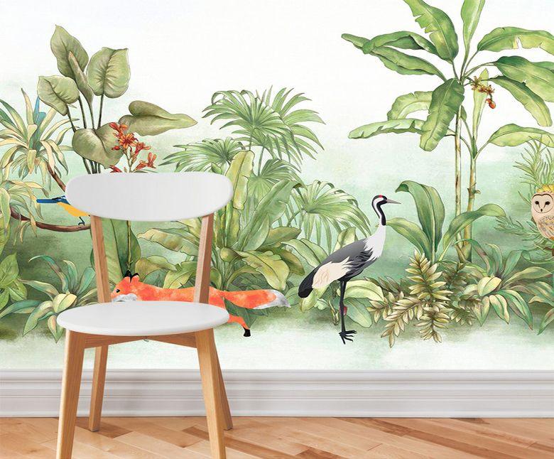 peint tropical - Les oiseaux et les animaux sous le buisson