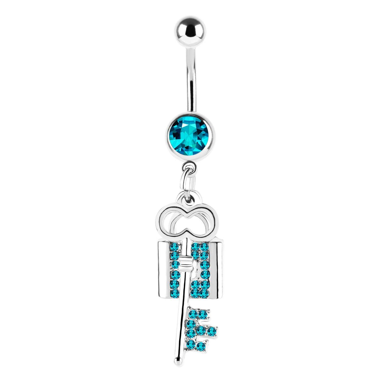 CABBE KALLO Belly Button Rings G Key and Lock Navel Rings
