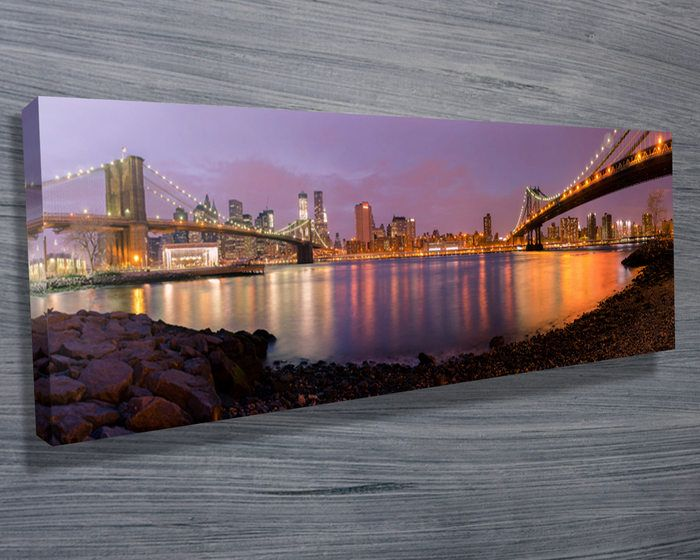This dazzling sunset panoramic of Brooklyn, New York is stretched ...