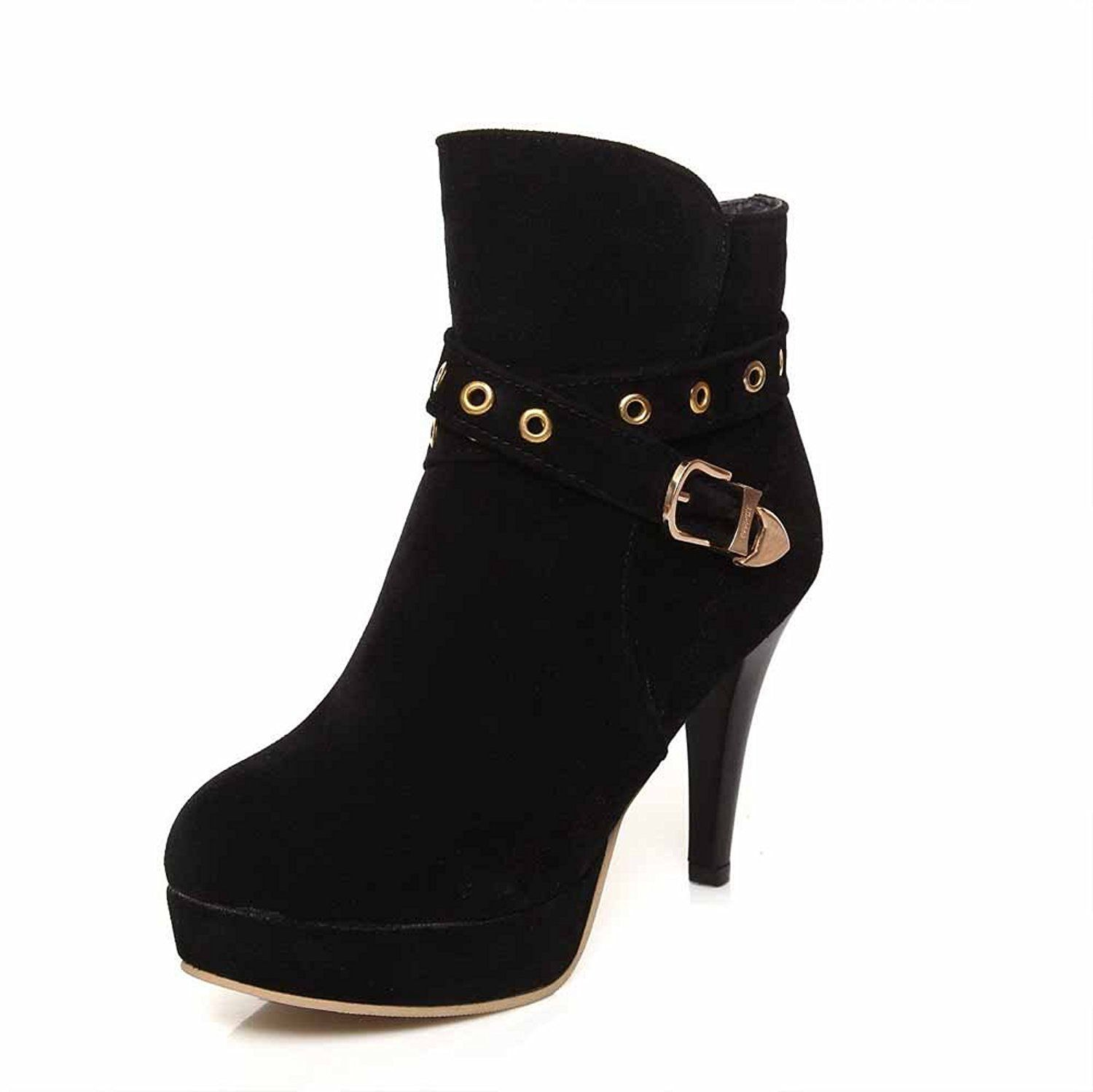 Women's Solid High Heels Zipper Round Closed Toe Boots