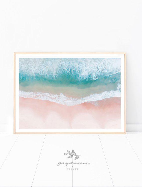 Beach Aerial Print Pink Sand Beach Beach Poster Aerial Beach